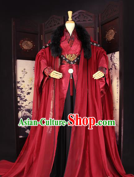 Chinese Ancient Royal Highness Embroidered Costume Swordsman Clothing for Men