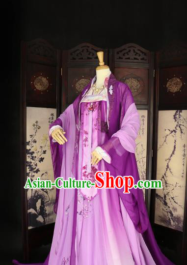 Chinese Ancient Imperial Concubine Purple Hanfu Dress Tang Dynasty Imperial Consort Embroidered Costume for Women