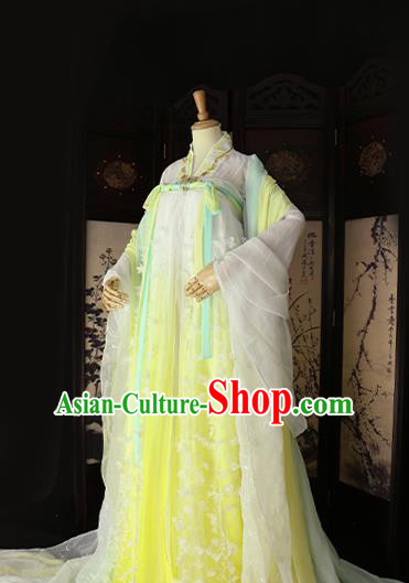 Chinese Ancient Cosplay Princess Yellow Hanfu Dress Tang Dynasty Imperial Consort Embroidered Costume for Women