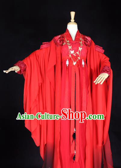 Chinese Ancient Cosplay Princess Red Hanfu Dress Tang Dynasty Palace Lady Wedding Embroidered Costume for Women