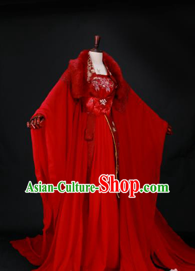 Traditional Chinese Princess Embroidered Wedding Costume Ancient Han Dynasty Imperial Concubine Red Hanfu Dress for Women
