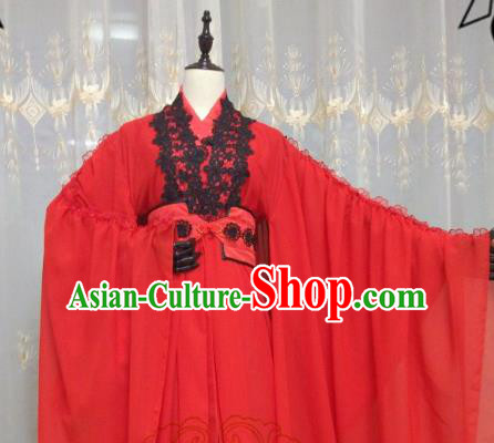 Chinese Ancient Cosplay Swordswoman Red Hanfu Dress Ming Dynasty Heroine Embroidered Costume for Women