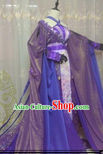 Chinese Ancient Imperial Concubine Costume Cosplay Swordswoman Clothing Tang Dynasty Nobility Lady Purple Hanfu Dress for Women