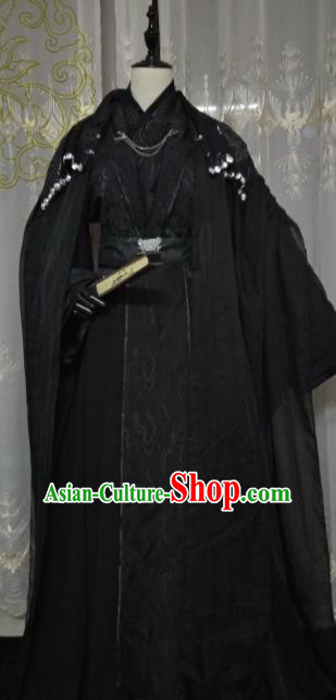 Chinese Ancient Nobility Childe Black Costume Cosplay Swordsman Royal Highness Clothing for Men