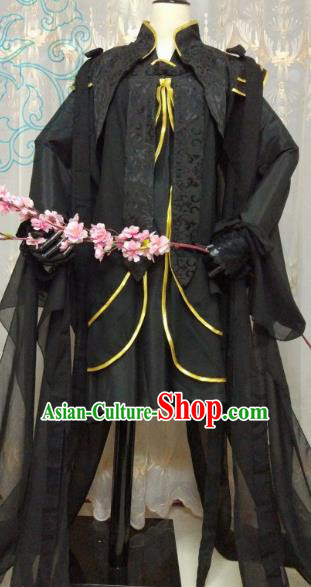 Chinese Ancient Princess Costume Cosplay Swordswoman Clothing Tang Dynasty Young Lady Black Hanfu Dress for Women