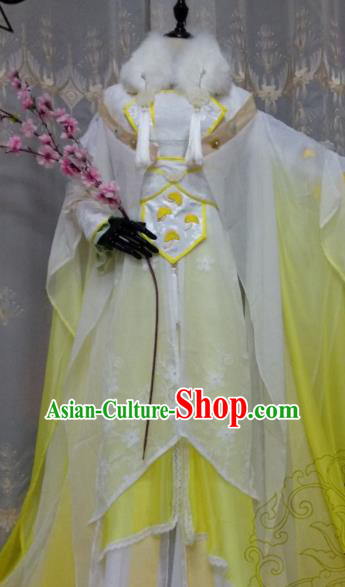 Chinese Ancient Court Princess Costume Cosplay Swordswoman Clothing Tang Dynasty Palace Lady Yellow Hanfu Dress for Women