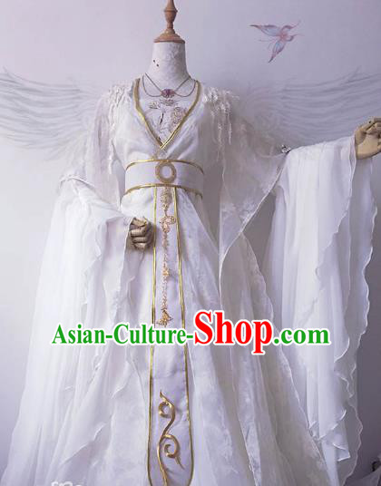 Chinese Ancient Costume Cosplay Imperial Concubine Clothing Tang Dynasty Palace Lady Embroidered White Hanfu Dress for Women