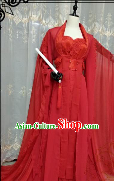 Chinese Ancient Wedding Costume Cosplay Swordswoman Clothing Tang Dynasty Princess Red Hanfu Dress for Women