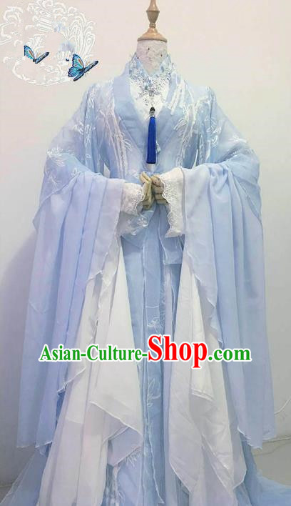 Chinese Ancient Costume Cosplay Imperial Concubine Clothing Han Dynasty Princess Embroidered Blue Hanfu Dress for Women