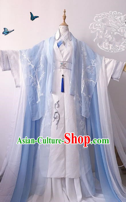 Chinese Ancient Nobility Childe Prince Blue Costume Cosplay Swordsman Embroidered Clothing for Men