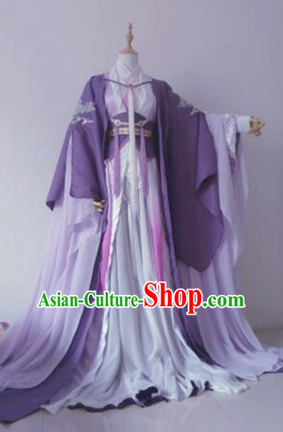 Chinese Ancient Princess Costume Cosplay Knight Clothing Han Dynasty Swordswoman Embroidered Hanfu Dress for Women