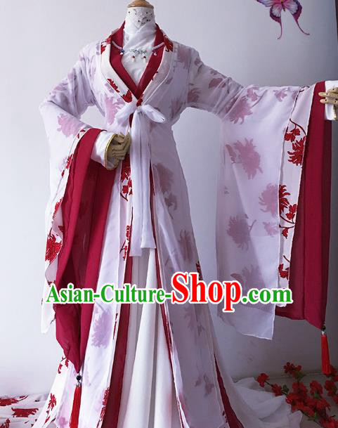 Chinese Ancient Princess Costume Cosplay Empress Clothing Han Dynasty Queen Embroidered Hanfu Dress for Women