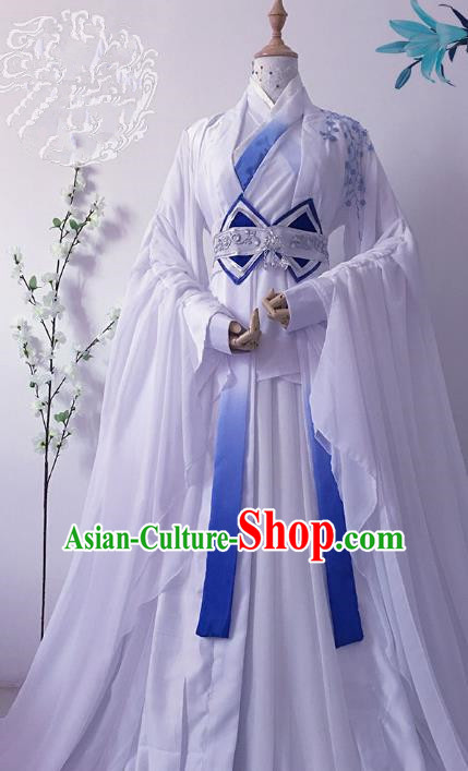 Chinese Ancient Crown Prince Costume Cosplay Nobility Childe Swordsman Embroidered Clothing for Men