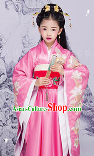 Chinese Ancient Princess Embroidered Costume Han Dynasty Palace Lady Hanfu Dress and Headpiece for Kids