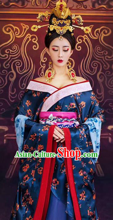 Chinese Ancient Imperial Consort Costume Tang Dynasty Imperial Concubine Embroidered Clothing and Headpiece for Women