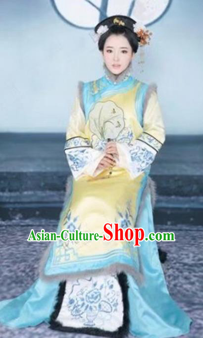 Chinese Traditional Qing Dynasty Princess Consort Hanfu Dress Ancient Manchu Palace Lady Costume for Women
