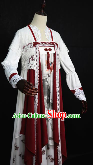 Chinese Ancient Cosplay Court Maid Costume Tang Dynasty Princess Embroidered Hanfu Dress for Women