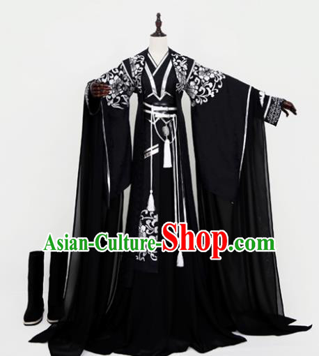 Chinese Ancient Emperor Black Costume Cosplay Nobility Childe Swordsman Embroidered Clothing for Men