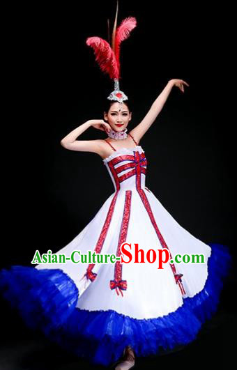 Top Grade Folk Dance Costume Opening Dance Modern Dance Big Swing Dress and Headpiece for Women