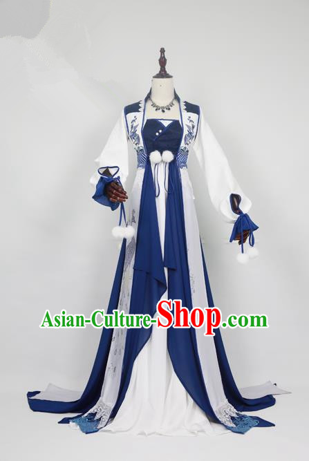 Chinese Ancient Cosplay Swordswoman Costume Han Dynasty Young Lady Embroidered Hanfu Dress for Women