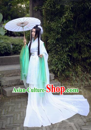Chinese Ancient Cosplay Swordswoman Embroidered Costume Fairy Princess Hanfu Dress for Women