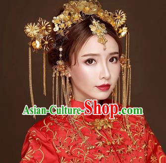 Chinese Traditional Handmade Bride Phoenix Coronet Wedding Hair Accessories Ancient Hairpins Complete Set for Women