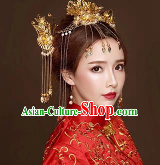 Chinese Traditional Handmade Bride Tassel Phoenix Coronet Wedding Hair Accessories Ancient Hairpins Complete Set for Women