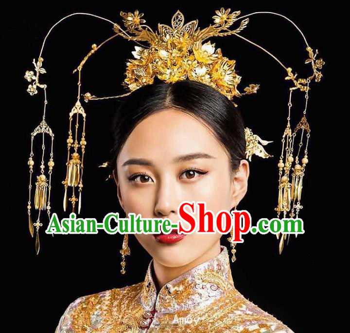 Chinese Traditional Wedding Bride Phoenix Coronet Xiuhe Suit Hair Accessories Ancient Hairpins Complete Set for Women