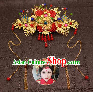 Chinese Traditional Hair Accessories Ancient Hairpins Red Beads Tassel Phoenix Coronet for Women