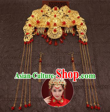 Chinese Traditional Hair Accessories Ancient Hairpins Red Beads Phoenix Coronet for Women
