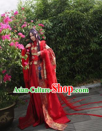Chinese Ancient Cosplay Swordsman Embroidered Wedding Costume Jin Dynasty Emperor Red Clothing for Men
