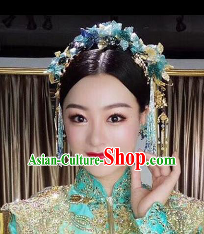 Chinese Traditional Handmade Hair Accessories Ancient Blue Flowers Phoenix Coronet Hairpins for Women