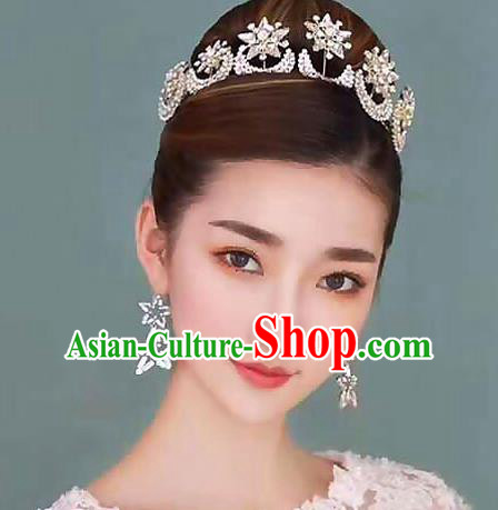 Handmade Baroque Style Hair Jewelry Accessories Bride Crystal Moon Royal Crown Princess Imperial Crown for Women