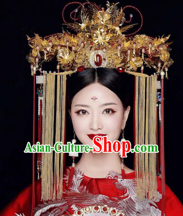 Chinese Ancient Handmade Hair Accessories Traditional Queen Phoenix Coronet Hairpins Complete Set for Women