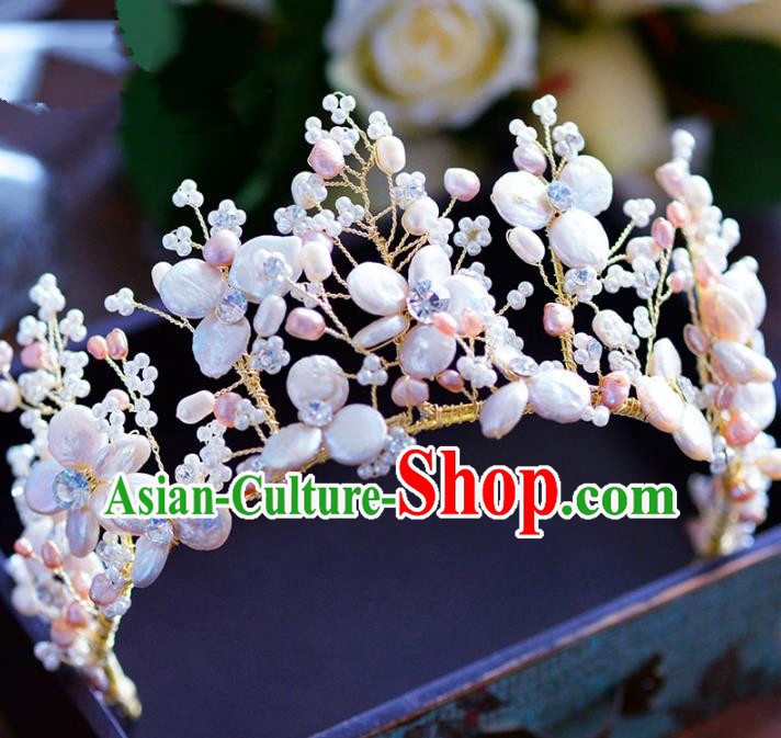 Handmade Baroque Style Hair Jewelry Accessories Bride Pearls Shell Royal Crown Princess Imperial Crown for Women