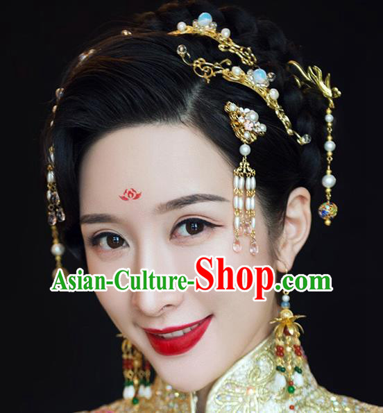 Ancient Chinese Handmade Classical Hair Accessories Tassel Hair Clips Xiuhe Suit Hairpins Complete Set for Women