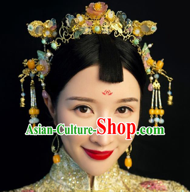 Ancient Chinese Handmade Classical Hair Accessories Hair Clips Xiuhe Suit Hairpins Complete Set for Women