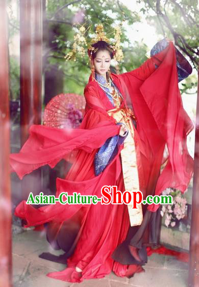 Chinese Ancient Empress Wedding Costume Song Dynasty Bride Palace Lady Red Hanfu Dress for Women