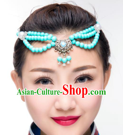 Traditional Chinese Mongol Nationality Dance Hair Accessories, Mongolian Minority Blue Beads Tassel Headwear for Women