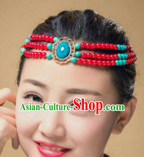 Traditional Chinese Mongol Nationality Dance Hair Accessories, Mongolian Minority Beads Hair Clasp Headwear for Women