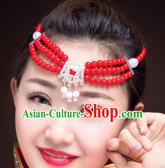 Traditional Chinese Mongol Nationality Dance Hair Accessories, Mongolian Minority Red Beads Hair Clasp Headwear for Women