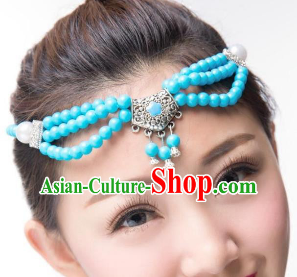 Traditional Chinese Mongol Nationality Dance Hair Accessories, Mongolian Minority Blue Beads Hair Clasp Headwear for Women