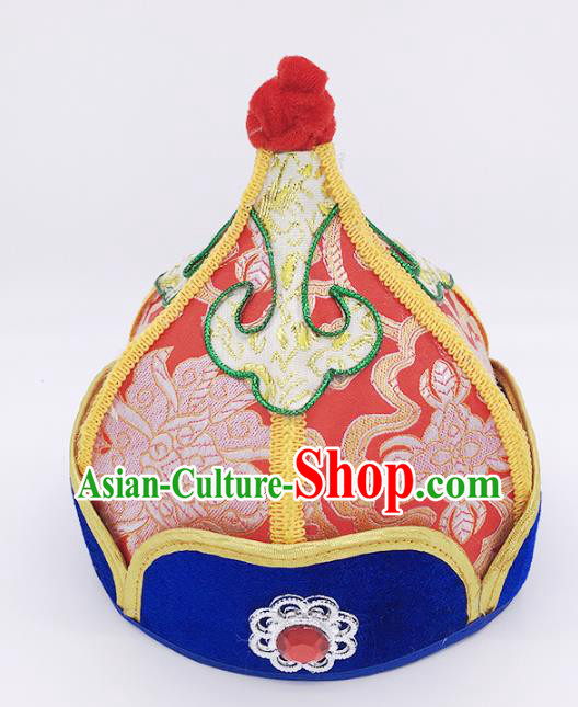 Traditional Chinese Mongol Nationality Handmade Hat, Handmade Mongolian Minority Red Hats Headwear for Kids