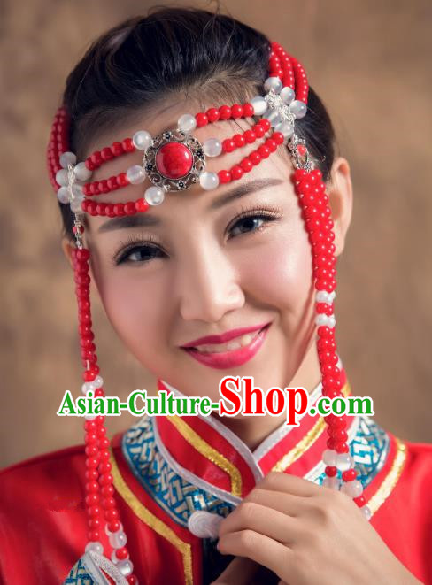 Traditional Chinese Mongol Nationality Red Beads Hair Accessories, Mongolian Minority Dance Hair Clasp for Women