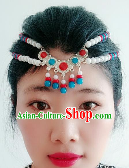 Traditional Chinese Mongol Nationality Beads Hair Accessories, Mongolian Minority Dance Headwear for Women