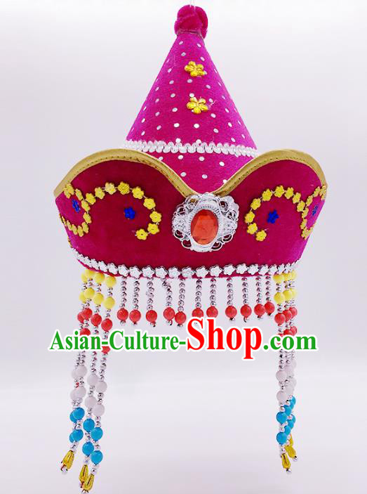 Traditional Chinese Mongol Nationality Rosy Hats, Mongolian Minority Hair Accessories Dance Headwear for Kids