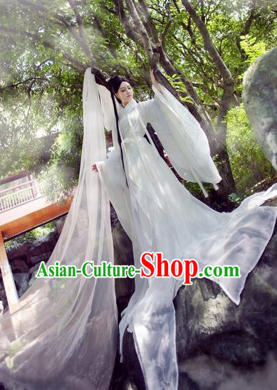 Chinese Ancient Cosplay Little Dragon Maiden Costume Song Dynasty Swordswoman White Hanfu Dress for Women