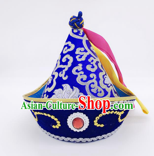 Traditional Chinese Mongol Nationality Hat Hair Accessories, Handmade Mongolian Minority Royalblue Hats Headwear for Kids