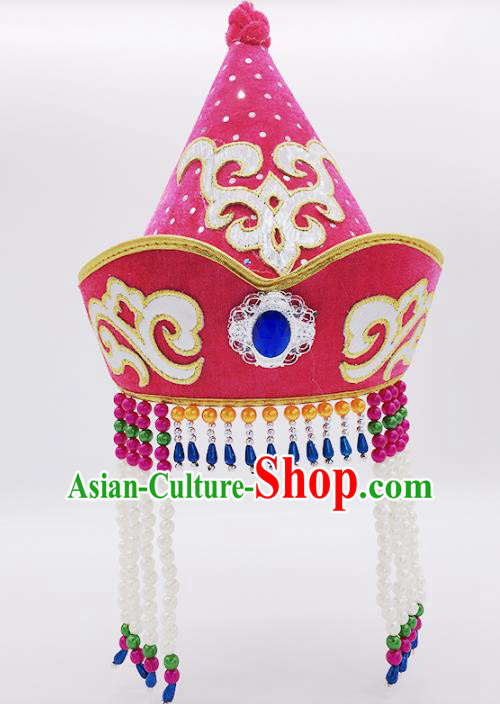 Traditional Chinese Mongol Nationality Pink Hats, Mongolian Minority Hair Accessories Dance Headwear for Kids