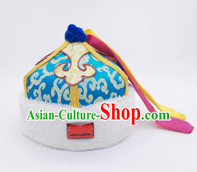 Traditional Chinese Mongol Nationality Children Blue Hats, Mongolian Minority Hair Accessories Dance Headwear for Kids